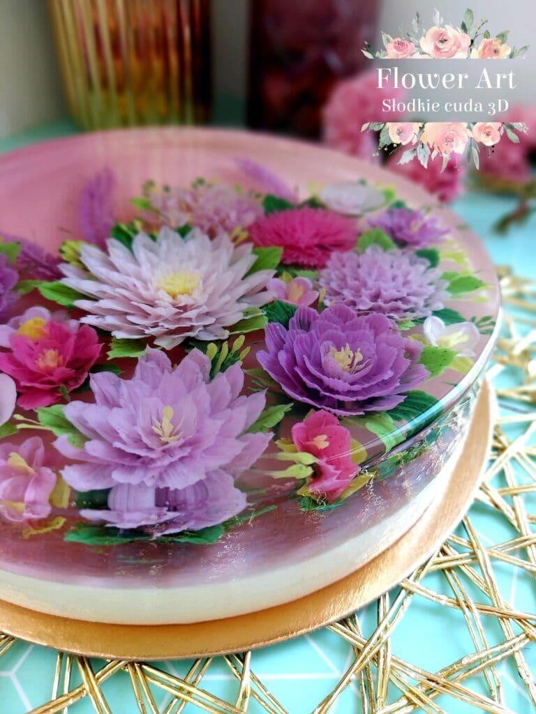 Kwiaty w galaretce wykonane techniką jelly art
