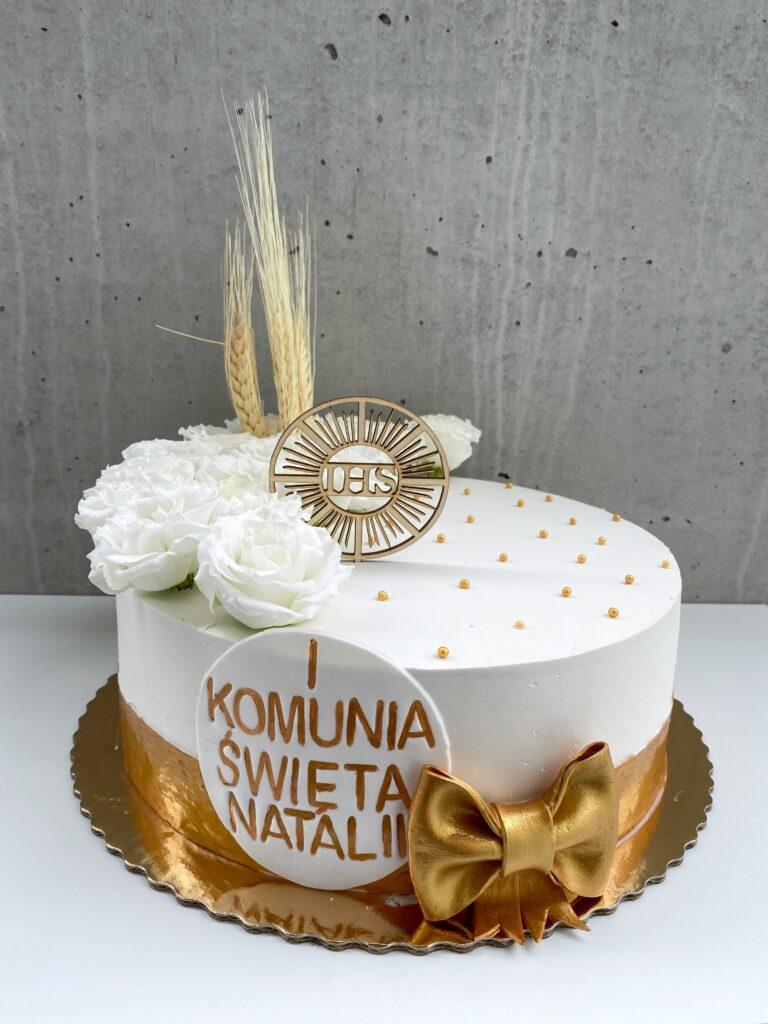 Biało- złoty tort komunijny