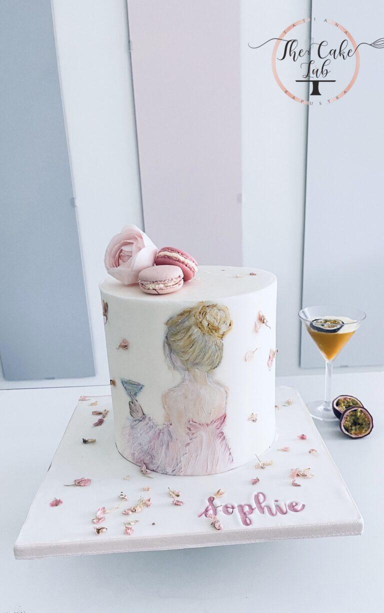 18 ste urodziny, malowany ręcznie na masie cukrowej