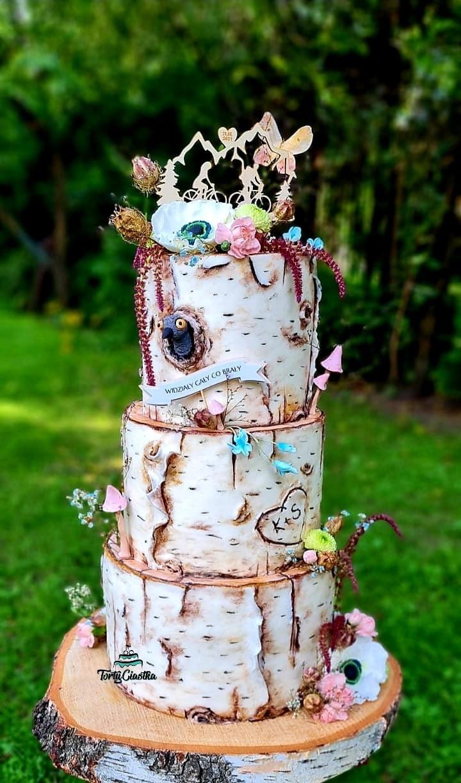 Tort ślubny brzoza